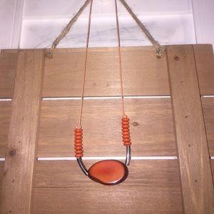 Beautiful orangey short Tagua necklace